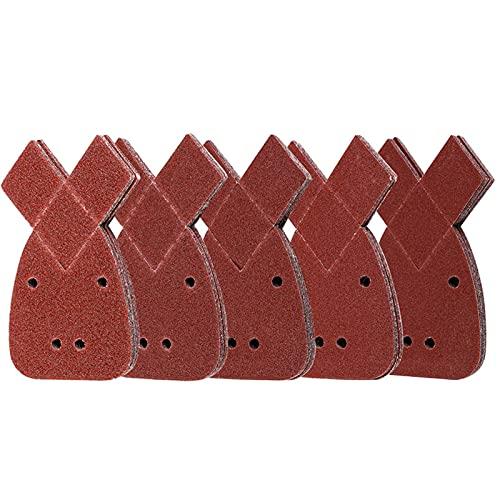 50 Hojas de Lija Mouse de Papel de Lija Triangular, 4 Agujeros, Grosor 40/60/80/120/240 para Black and Decker Lijadora Pulido/Eliminación de Oxido