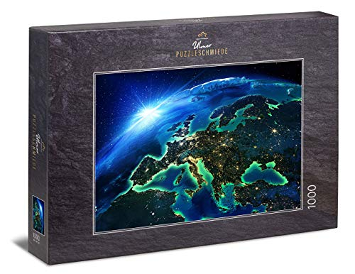 Ulmer Puzzleschmiede - Puzzle Lights of Europe - klassisches 1000 Teile Puzzle - spektakuläres Puzzlemotiv von Europa aus der Weltraum-Perspektive bei Nacht