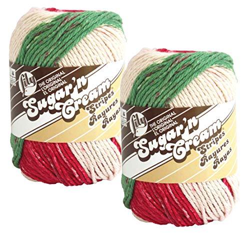 Bulk Buy: Lily Sugar 'n Cream 100% Cotton Yarn (2-Pack) (Holiday Stripes #21532)
