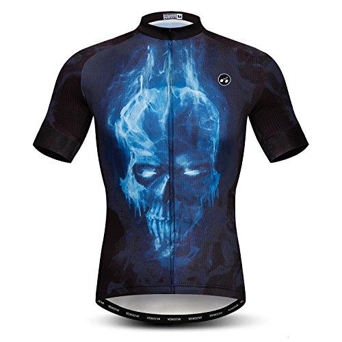Herren Radtrikot, kurze Ärmel, Mountainbike-Shirt, MTB, Top, Reißverschlusstasche, reflektierender Totenkopf - - Small (Brust 84/91 cm)