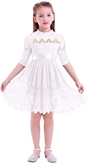 IBTOM CASTLE Girls Floral Lace 3/4 Sleeve Dress Bridesmaid Wedding Kids Princess Birthday Party Pageant Communion Evening Dresses Bowknot Ball Gown Clothes Toddler Baby Tulle Tutu Skirt Swing Dress