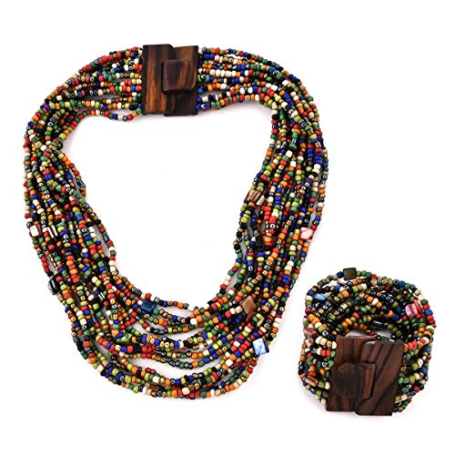 Multi Color Seed Bead Shell Wooden Buckle Stretchable Bracelet Multi Strand Boho Necklace Fashion Jewelry for Women Graduation Gifts for Her 18