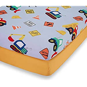 EVERYDAY KIDS 2 Pack Fitted Boys Crib Sheet, 100% Soft Microfiber, Breathable and Hypoallergenic Baby Sheet, Fits Standard Size Crib Mattress 28in x 52in, Nursery Sheet – Construction/Gold