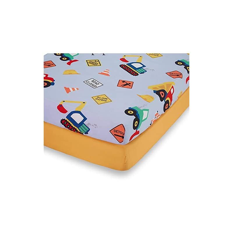 crib bedding and baby bedding everyday kids 2 pack fitted boys crib sheet, 100% soft microfiber, breathable and hypoallergenic baby sheet, fits standard size crib mattress 28in x 52in, nursery sheet - construction/gold