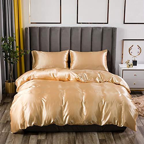 AShanlan Bettwäsche Set Satin 135x200 Gold Uni Einfarbig Deckenbezug 100% Glatt Angenehm Glanzsatin Polyester - 1 Bettbezug 135 x 200 + 1 Kissenbezug 80 x 80 cm