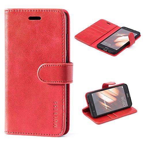Mulbess Handyhülle für Huawei P10 Lite Hülle Leder, Huawei P10 Lite Handy Hülle, Vintage Flip Handytasche Schutzhülle für Huawei P10 Lite Hülle, Wein Rot