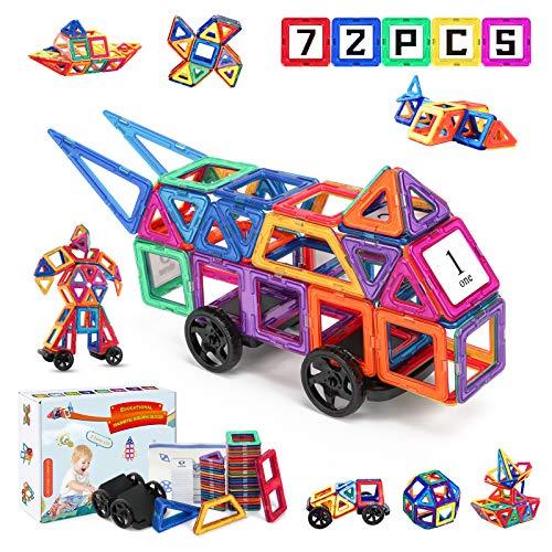 Fansteck 72pcs Bloques Magnéticos, Construcciones para Niños, Puzzle Niños 3D, Juegos de Mesa para Niños, Juguetes Niños 3+ Años Juguetes Educativos Geométricos Montessri Regalo de Cumpleaños