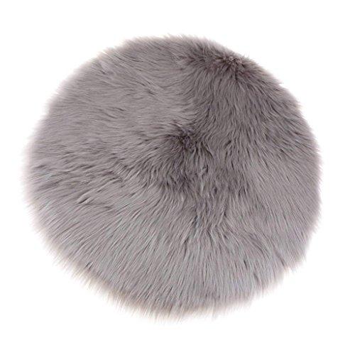Cumay Kunstfell Pelz Stil Teppich Faux Fleece flauschig Bereich Teppiche Anti-Rutsch Yoga Teppich für Wohnzimmer Schlafzimmer Sofa Boden Teppiche, Round Gray (Rund Grau, 45x45cm)