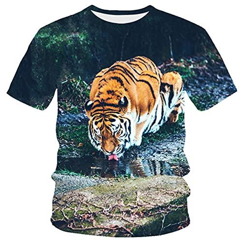XDJSD Camiseta para Hombre Camiseta Corta De Manga Corta Camiseta De Gran Tamaño Camiseta Superior Camiseta para Hombre Camiseta con Estampado De Tigre Camiseta De Manga Corta con Cuello Redondo