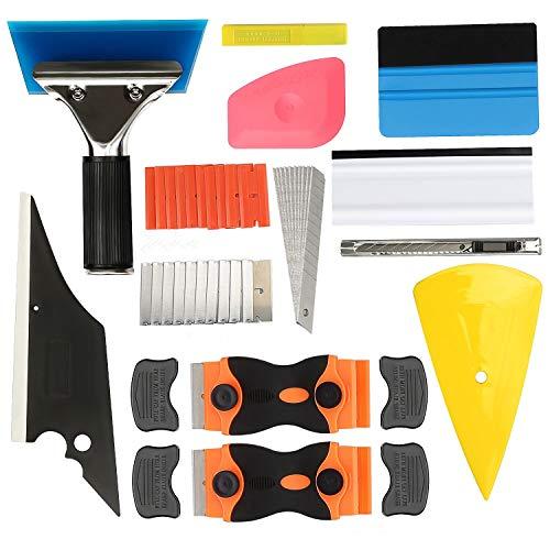 GISSVOGEEK Window Tint Application Tools,Car Window Film Tinting Tools,Vinyl Wrap Kit,11 in 1 Precut/Auto Window Tint Kit Felt Squeegee, Window Tint Squeegee,Plastic Scrapers,Utility Knife&Blades