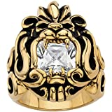 Palm Beach Jewelry Men's Yellow Gold Ion Plated Stainless Steel Antiqued Square Cut Cubic Zirconia Lion's Head Ring Size 8
