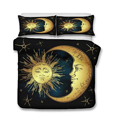 QWAS Juego de ropa de cama con diseño de sol y lunas, 3 piezas, para cama individual, doble, king (A4, 200 x 200 cm + 80 x 80 cm x 2)