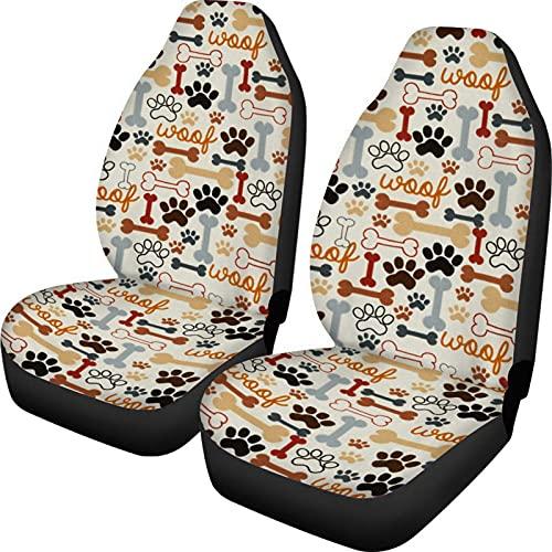 KUILIUPET Fundas de asiento de coche para asientos delanteros, diseño de patas de perro, juego de 2 unidades universales protectores de coche accesorios decorativos para mujeres y hombres