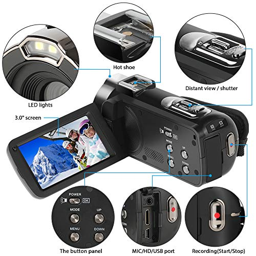 Video Camcorder,ACTITOP 1080P FHD Camcorder 24MP 16X Digital Zoom Video Camera 3.0inch Screen Face Detection LED Light Camcorder Camera with External Microphone,Remote Control,2 Batteries (HDV302)