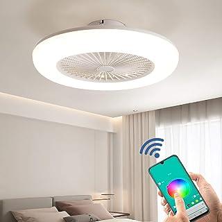 Ventiladores de Techo con Lámpara, 40W LED Ventilador de Techo Lámpara, Regulables con Control Remoto y APP, viento de 3 Velocidades, Modernos Ventiladores de Techo con Lámparas para Dormitorio