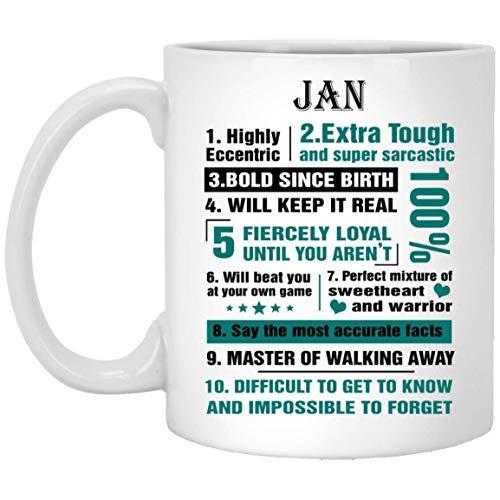 Nuestro Nombre es Tazas de Barro para niños Jan 10 Hechos Altamente excéntricos - Tazas de té de café Personalizadas para él, Ella en el día del Padre - Cerámica Blanca