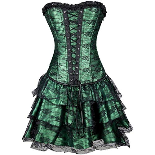 Damen Mini Kleider Spitzen Patchwork Tutu Rock Reizvoller Korsett mit Minirock Retro Party Ballkleid Frauen Tüllrock Tanzkleid(Grün,Medium