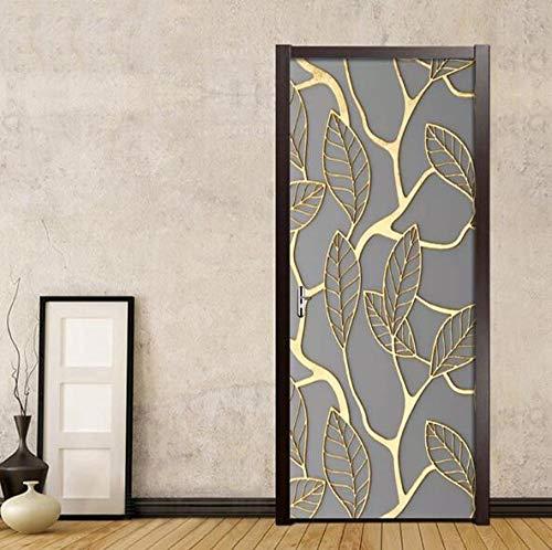 Muursticker om zelf te maken en decoraties voor het huis, 3D-stickers, voor deuren, bladgoud, afbeelding ter bescherming van het milieu, zelfklevend, waterdicht, druk op canvas, 77 x 200 cm