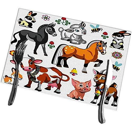 Napperons pour table à manger ensemble de 6 collection d'animaux de ferme de bande dessinée pour bébé et petit enfant napperons 12 'X18'