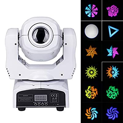 Moving Head Lichteffekt, [UKing Updated version] 8 patterns lights 60W LED Stage light with 4 control modes for party DJ disco Bar club show christmas (white)