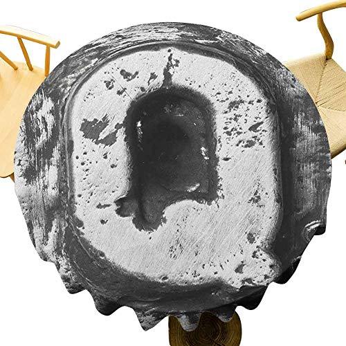 VICWOWONE - Mantel redondo de 35 pulgadas, con efecto de grunge Murky en las iniciales, nombre arcaico, color gris plateado