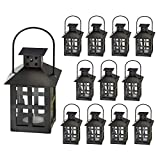 Kate Aspen Decorative Lanterns - 12pcs - Distressed Metal Vintage Mini Wedding Lantern, Centerpiece for Wedding Table, Accent Piece and Home Decor, Wedding Favors and Baby Shower Favors (Black)