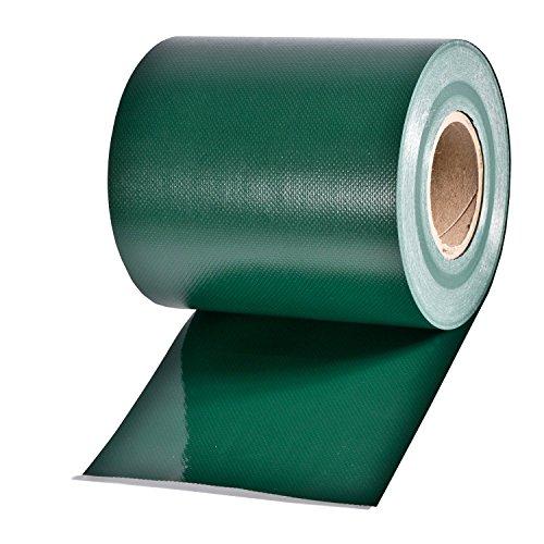 35m Sichtschutz Rolle grün RAL 6005, Materialstärke 0,45 kg/m², inkl. 20 Kunststoff-Clips, Rollenbreite 19cm, für Gartenzäune, EIN- oder Doppelstabmatten-Zäune mit Maschenhöhe 20 cm, Model 9001