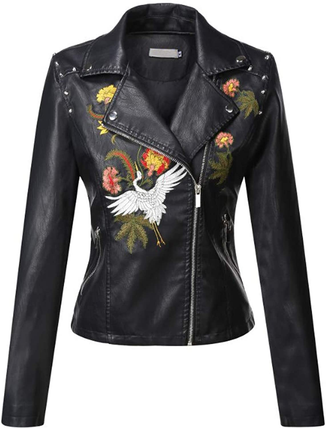Chowsir Women Slim PU Leather Floral Embroidered Motor Jacket