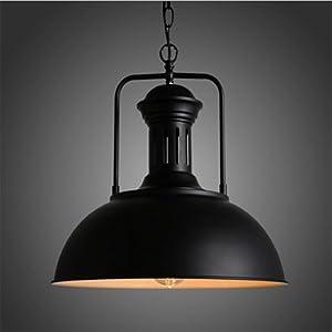 NIUYAO Lámparas de araña Metal Cuenco Iluminación de techo Ajustable Lámparas Decorativas Industrial Retro 1 Luz-Negro