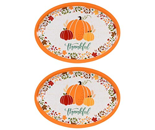 """Set of 2 Large Oval""""Thankful"""" Thanksgiving Melamine Platter Dish - Fall Harvest Pumpkins - 18.5 inches"""