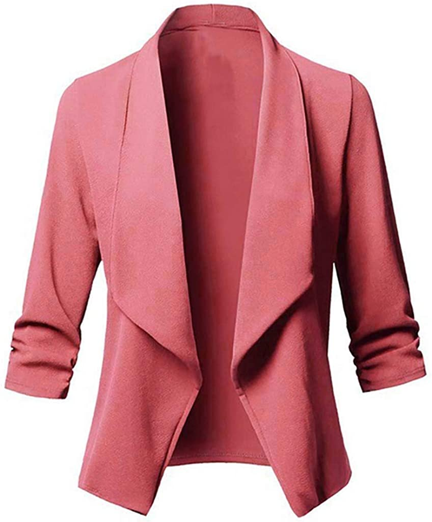 XXBR Women's Blazer Cardigans, Fashion Open Front Lapel Collar Dusters Office Ladies Business Casual Cardigan Outerwear