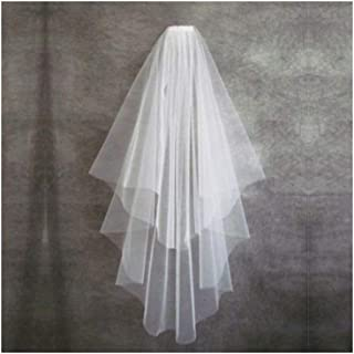 ZYFZD Cheap Short Wedding Veil With Comb Cut Edge 2 Layers Simple Mariage Veil Wedding Accessories (Color : Ivory)