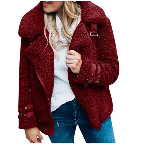 SOMESUN Damen Warm Fleecejacke Winter Kurzmantel Revers Winterjacke Teddy Fleece Plüschjacke Langarm Dicke Jacke Outwear mit Reißverschluss