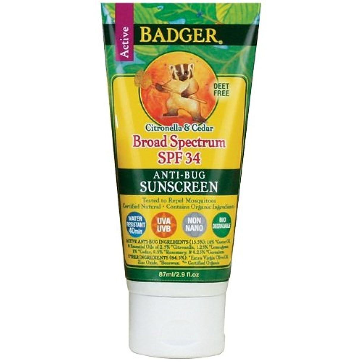 経験的ぼかし純度Badger バジャー ナチュラル虫よけ成分入り 日焼止め【SPF34】 87ml【海外直送品】【並行輸入品】