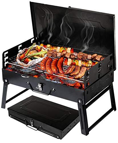 Holzkohlegrill Picknickgrill Kleiner Grill Klappgrill Tragbare BBQ Grill GC0015 Grill Holzkohlegrill für Camping Garten Party Barbecue Schwarz
