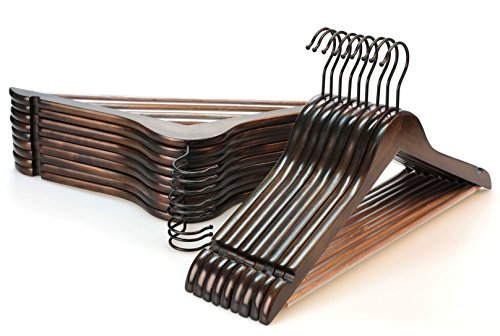 TOPIA HANGER Heavy Duty Wood Coat Hangers in Smooth Retro Finish Boutique Quality Wooden Suit Hangers-Thicker Non-Slip Rubber Pants Bar and Extra Smoothly Cut Notches-360° Black Hook-18 Pack CT04A
