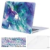 MOSISO Funda Dura Compatible con MacBook Air 13 (A1369/A1466, Versión 2010-2017), Rígida Carcasa Protector & Piel de Teclado de Color a Juego EU Versión & Protector de Pantalla, Galaxy Mármol