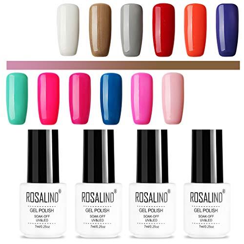 Rosalind - Esmalte de gel de color para uñas - Semipermanente y de larga duración - Secado en lámpara UV o LED - Paquete con 12 unidades - Botes de 7 ml
