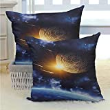 Galaxy Throw Pillow Case Cushion Case Maya Calendar with Outer Space Background with Earth Mystical Astral Meteor View Durable Decorative Bedding Gift for Sofa, Couch, Bed and Car 2PCS Blue Yellow -