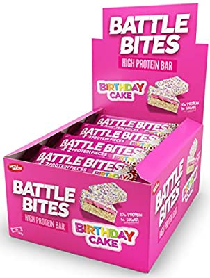 Battle Bites High Protein & Low Carb, Low Sugar Bar, 12 x 62g bars (2 x 31g pieces per bar) Baked by Battle Oats