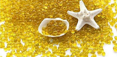 ZLDFAN Runde Glaskiesel 1000g 2mm-7cm Klarglasperlen dekoratives Kristallvasenaquarium Freunde, die Dekoration und Design mögen-Gelb 4-8mm
