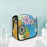 Coloridas flores arte colgante neceser multifunción bolsa cosmética para mujeres niñas viaje maquillaje bolsa bolsa bolsa de almacenamiento portátil