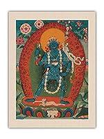 ヤミニ、ヴァジュラヴァラヒの心の鎧の女神 - 仏教絵画 - Tibet, 19th Century - オーガニックキャンバスアートプリント 61 x 81cm