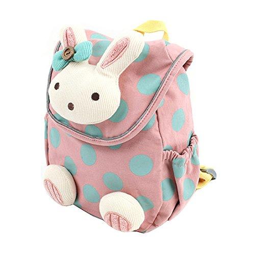 Xinyanmy Süße Kaninchen Babyrucksack Kinderrucksack für Baby Mädchen Kleinkinder 1-3 Jahre im Kindergarten (Rosa)
