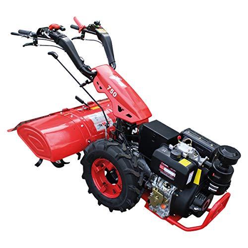 Kawapower KPMTC10D Motocultor con Motor a Diesel 12HP y Arranque Eléctrico, Negro y Rojo