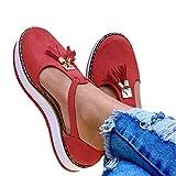Sandalias Antideslizantes Transpirables Más El Tamaño De Zapatos Casuales De Mujer De Estilo Europeo Borlas Con Hebillas Zapatos De Mujer Romanos De Fondo Grueso De Verano Moda Baotou