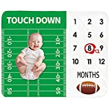 Baby Monthly Milestone Blanket Boy - Newborn Month Blanket Unisex Neutral Personalized Shower Gift Football Sports Nursery Decor Photography Background Prop with Frame Large 51''x40''
