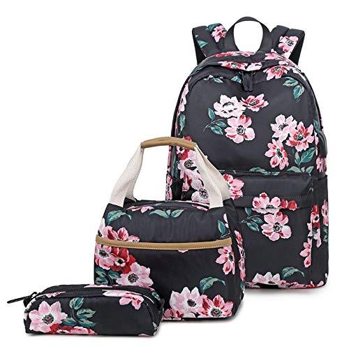 3-in-1-Nylon-Schulrucksack für Mädchen und Frauen, Laptop-Tagesrucksack, Schultasche + Federmäppchen Schwarz
