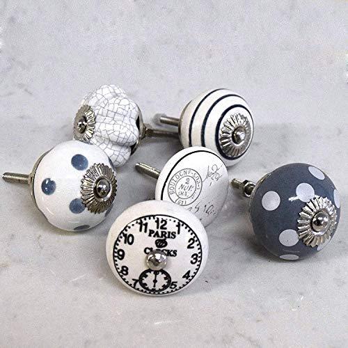 Set de 6 Céramique Gris Blanc à pois Style rétro shabby chic (horloges de boutons de porte de placard Motif rayures