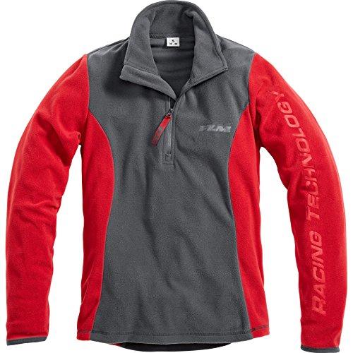 FLM Outdoor Fleeceshirt Fleece Shirt Fleeceshirts Fleeceshirt Damen Fleece Shirt 1.0, Fleecepullover Damen, tragangenehmes Microfleece, farbig abgesetzte Details, grau/rot, XS